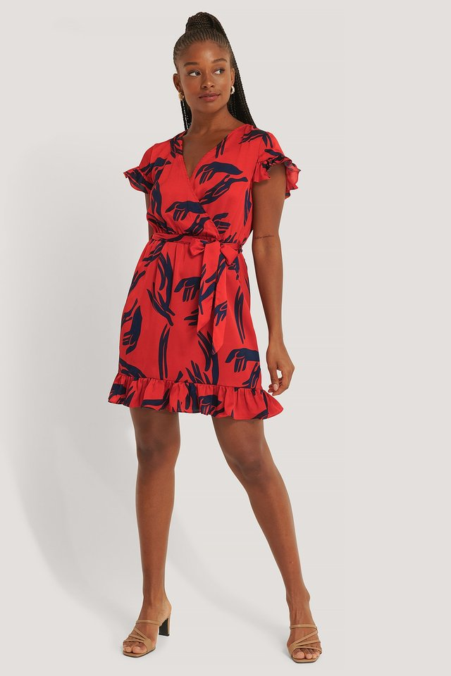 Red Wrap Frill Sleeve Dress