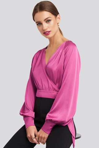 Pink Wrap Front Cropped Blouse