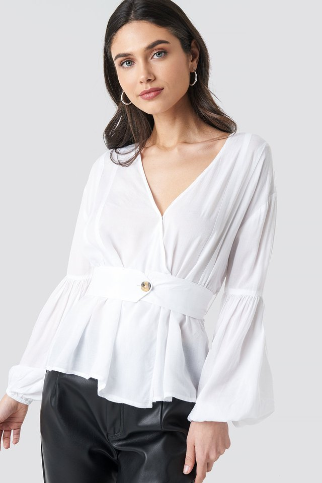 Wrap Front Fitted Waist Blouse White