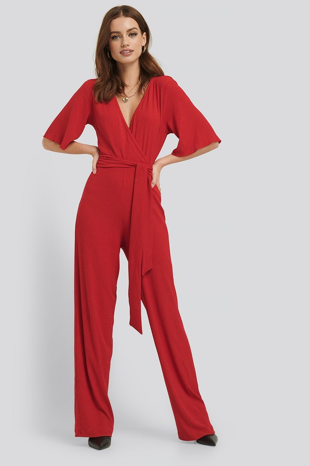 Wrap Front Jersey Jumpsuit Red