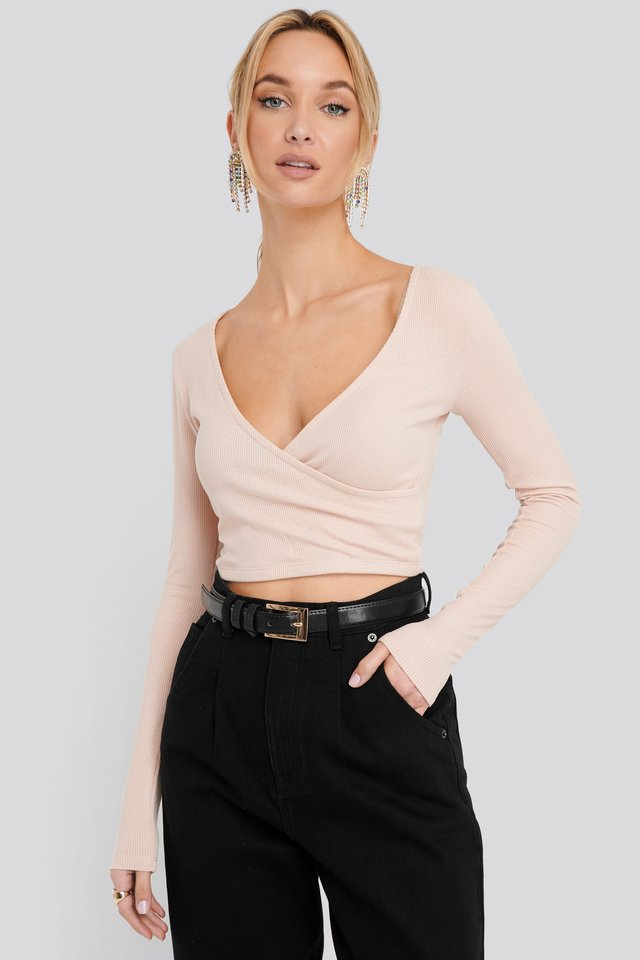 Wrap Front Long Sleeve Jersey Top Dusty Pink