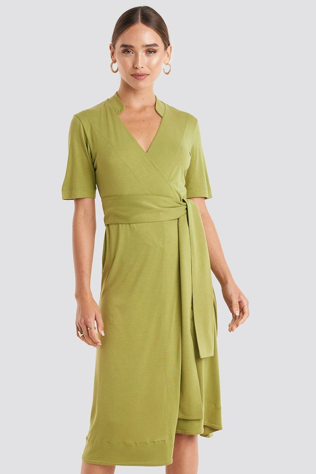 Wrap Jersey Midi Dress Green