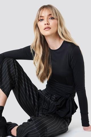 Black Wrap Waist Long Sleeve Top