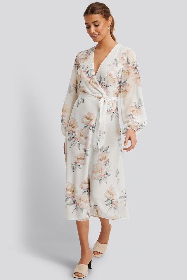 Wrap Midi Dress Light Flowers White