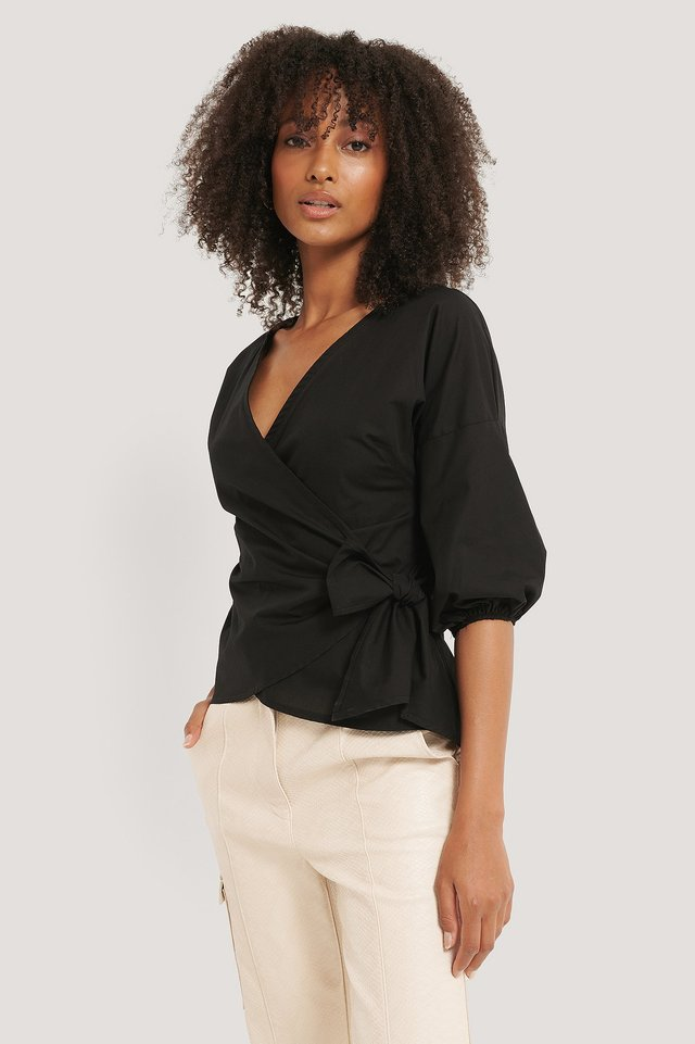 Black Wrap Over Balloon Sleeve Blouse
