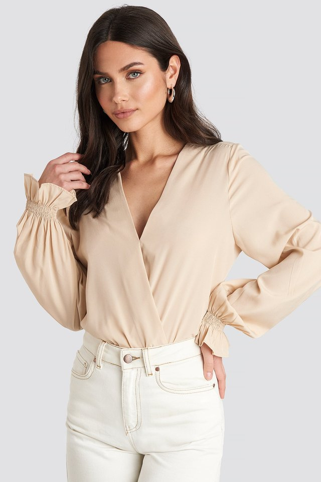 Wrap Over Blouse Light Beige