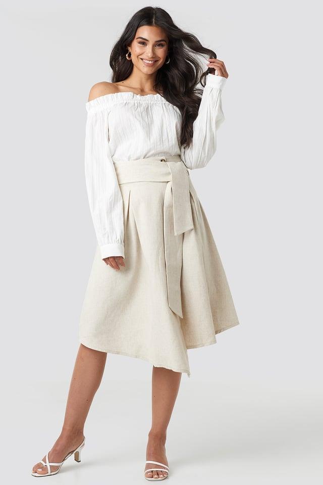 Beige Wrap Over Linen Look Skirt