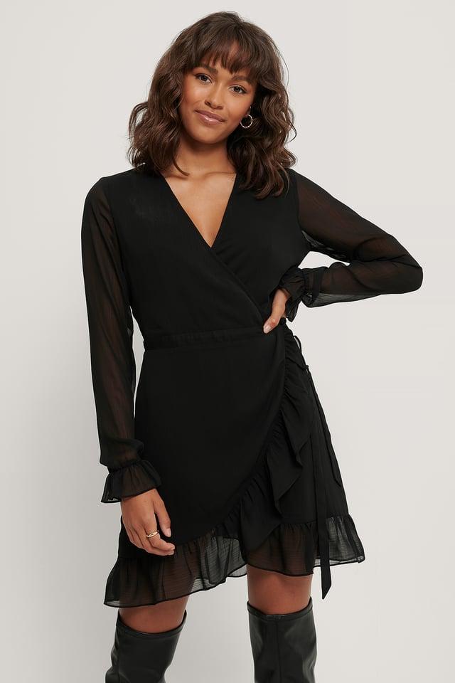 Wrap Over Self-Tie Dress Black