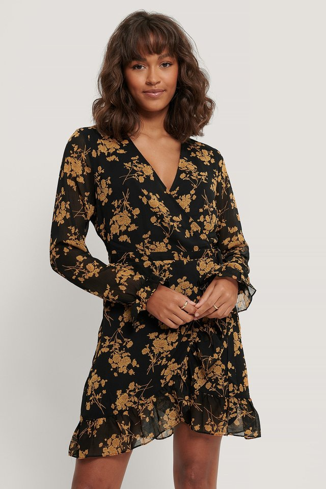 Wrap Over Self-Tie Dress Black/Flower Print