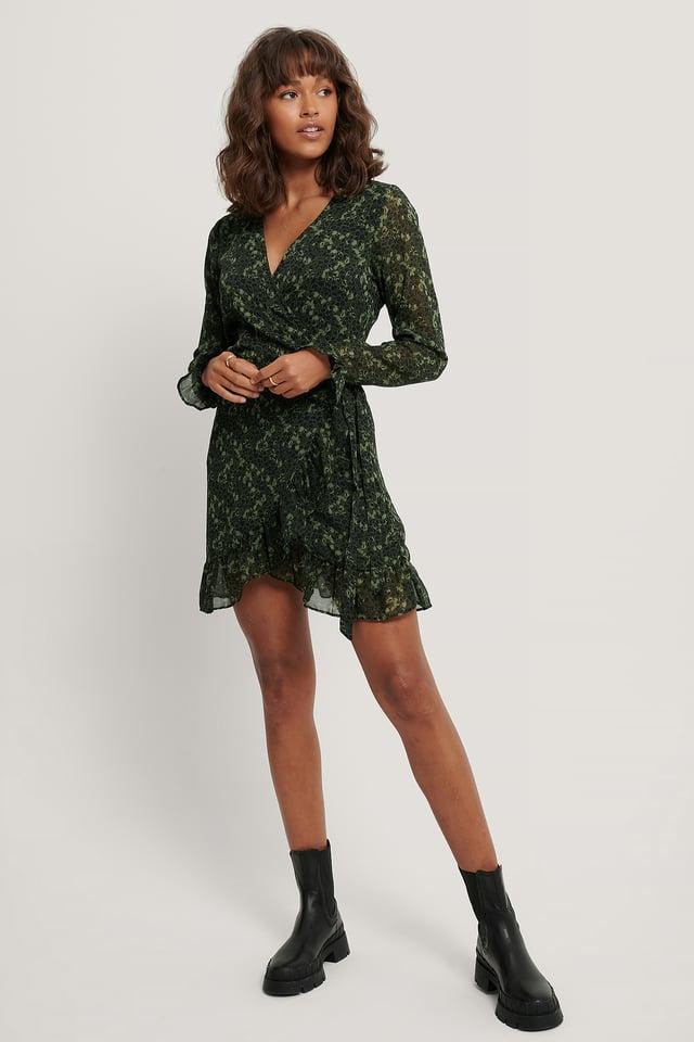 Green Flower Wrap Over Self-Tie Dress