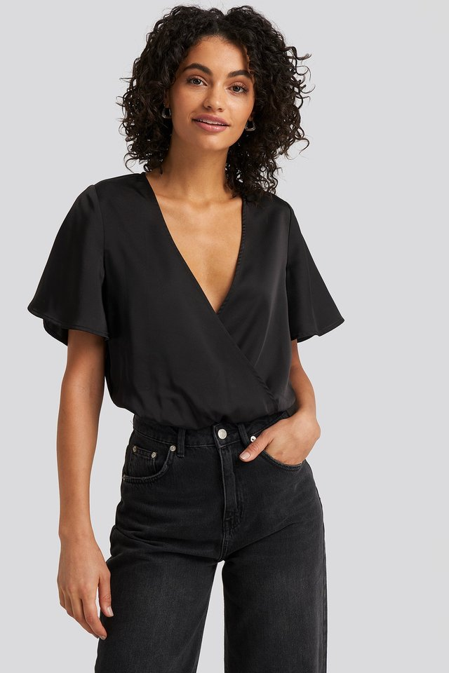Black Wrap Over Short Sleeve Body
