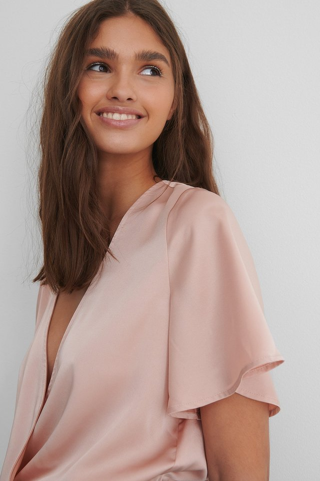 Dusty Pink Wrap Over Short Sleeve Body