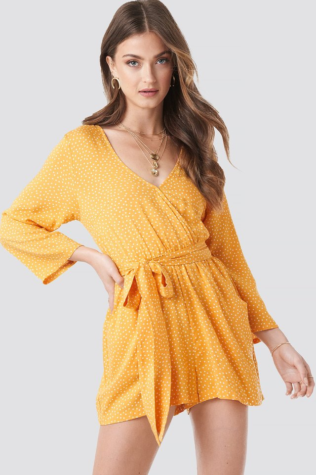 Wrap Playsuit Yellow Dots