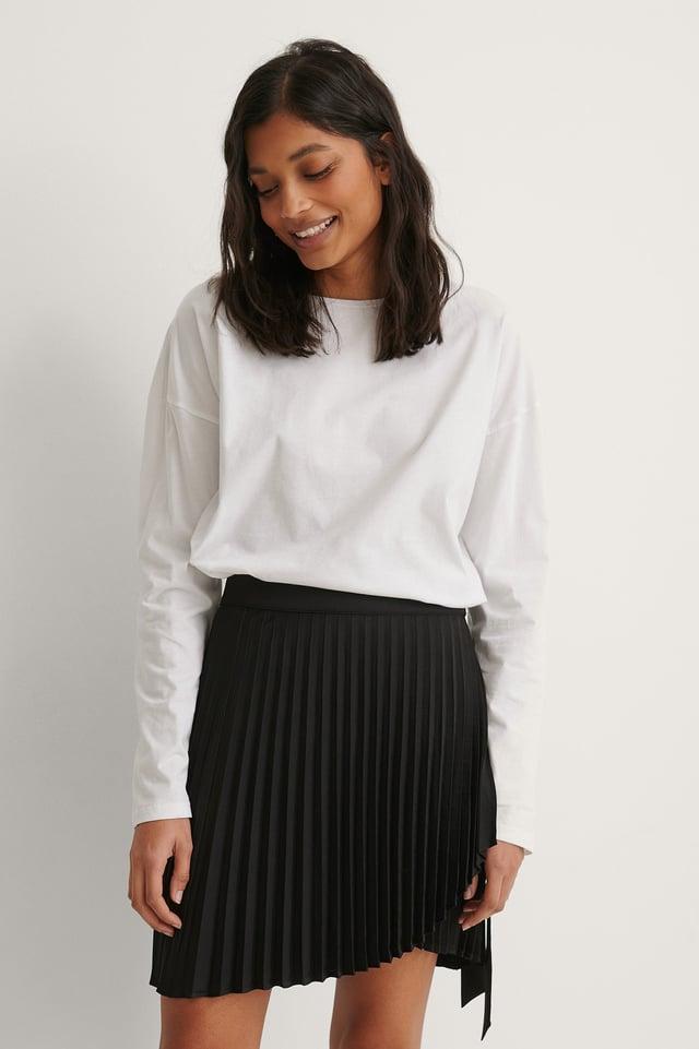 Black Wrap Pleated Mini Skirt