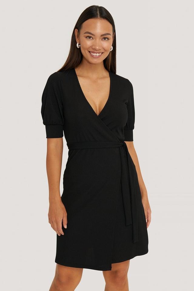 Black Wrap Puff Sleeve Dress