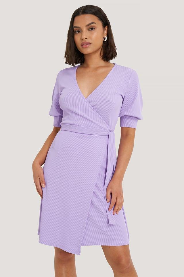 Lavender Wrap Puff Sleeve Dress
