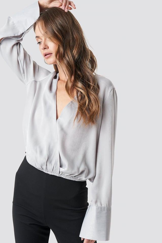 Kopertowy bluzka z satyny Silver