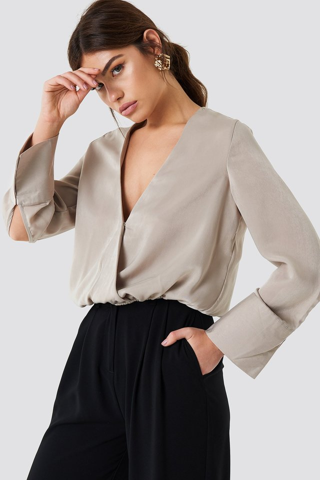Wrap Satin Top Light Beige