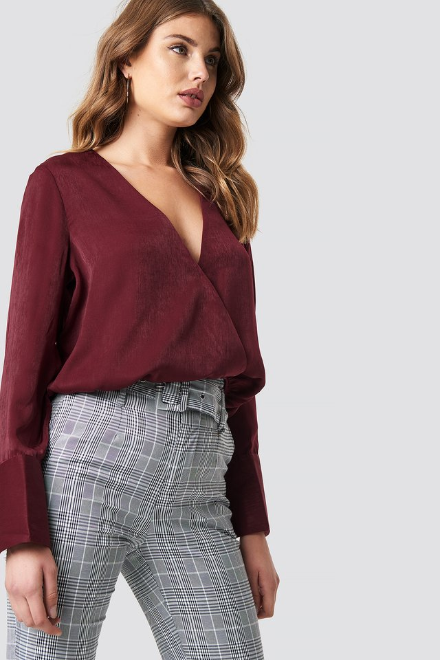 Wrap Satin Top Burgundy