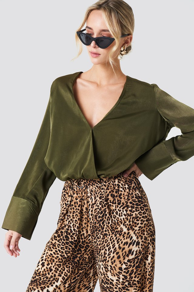 Wrap Satin Top Khaki Green