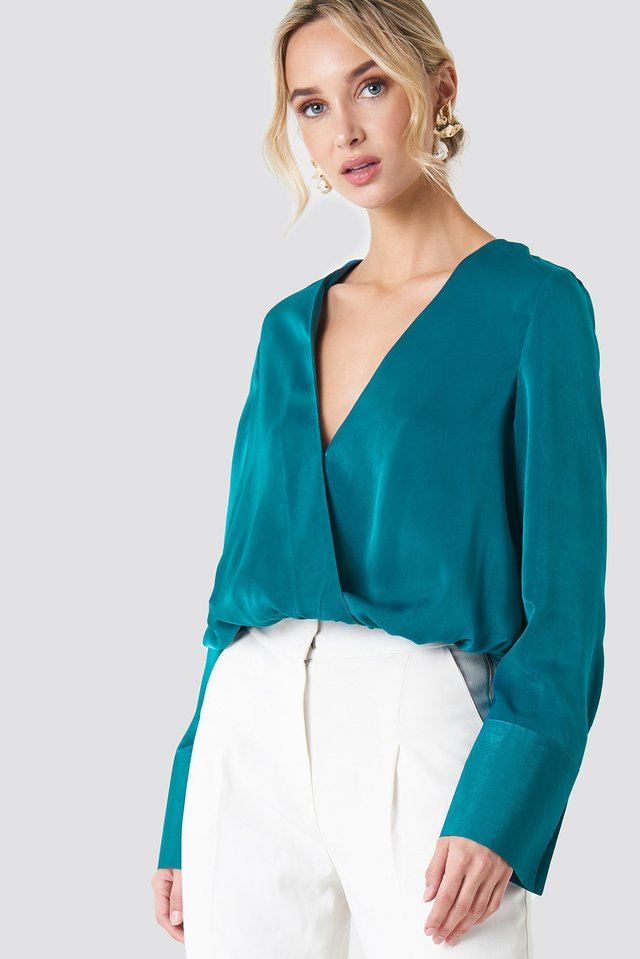 Wrap Satin Top Petrol Blue