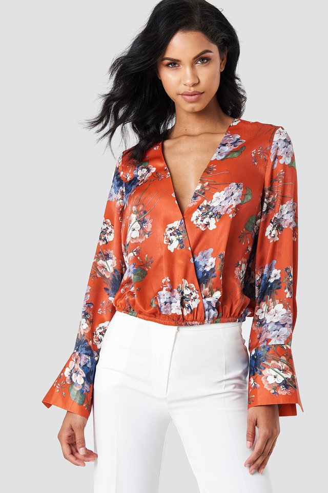 Wrap Satin Top Red Flower