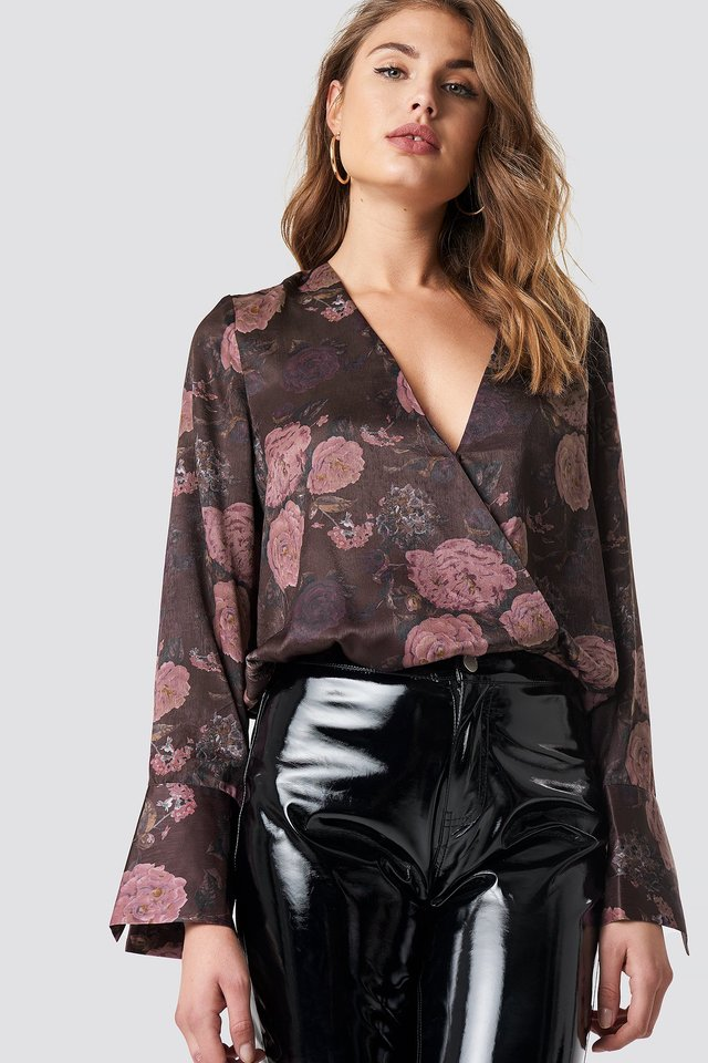 Wrap Satin Top Brown/Pink Flowers