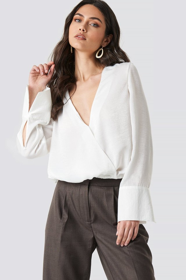 Wrap Satin Top White