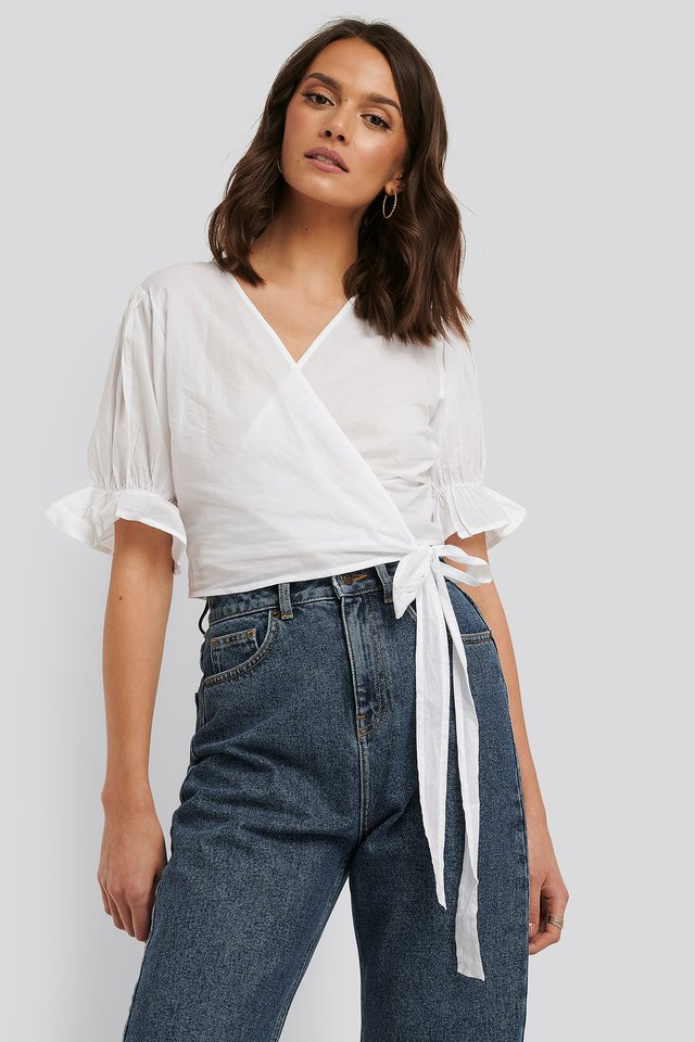 Wrap Short Sleeve Puff Top White