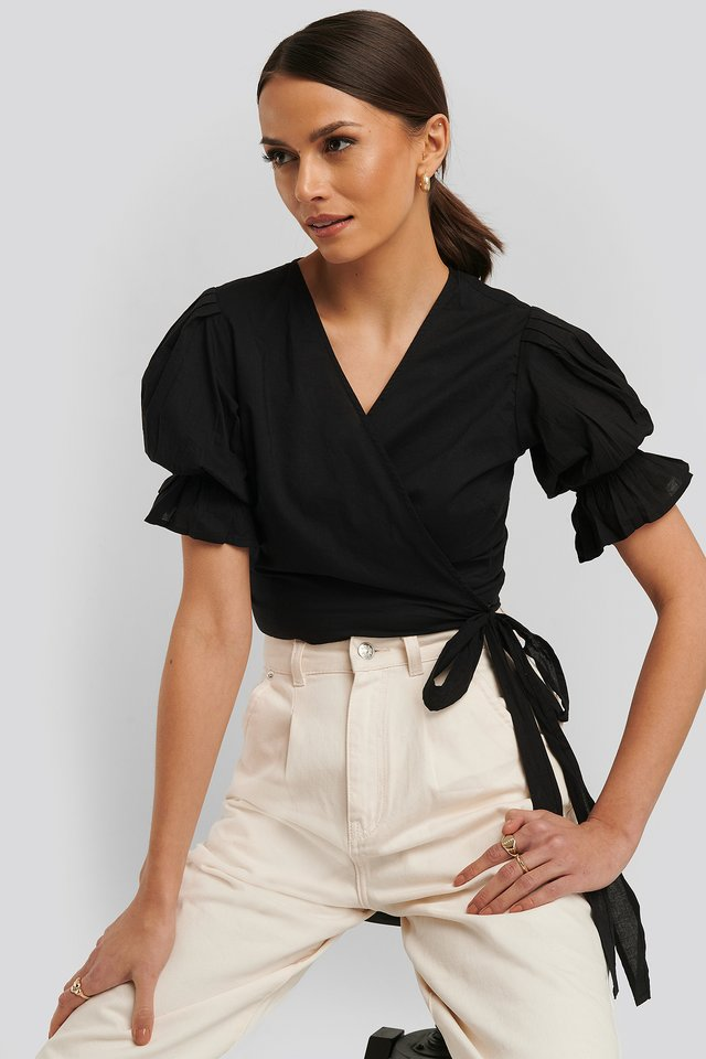 Wrap Short Sleeve Puff Top Black