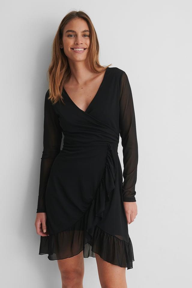 Wrap Tie Mesh Dress Black
