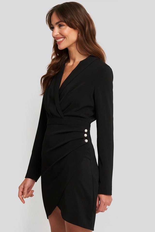 Wrapped Blazer Dress Black
