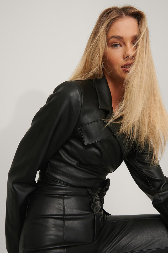 Black Wrapped Cropped Blazer