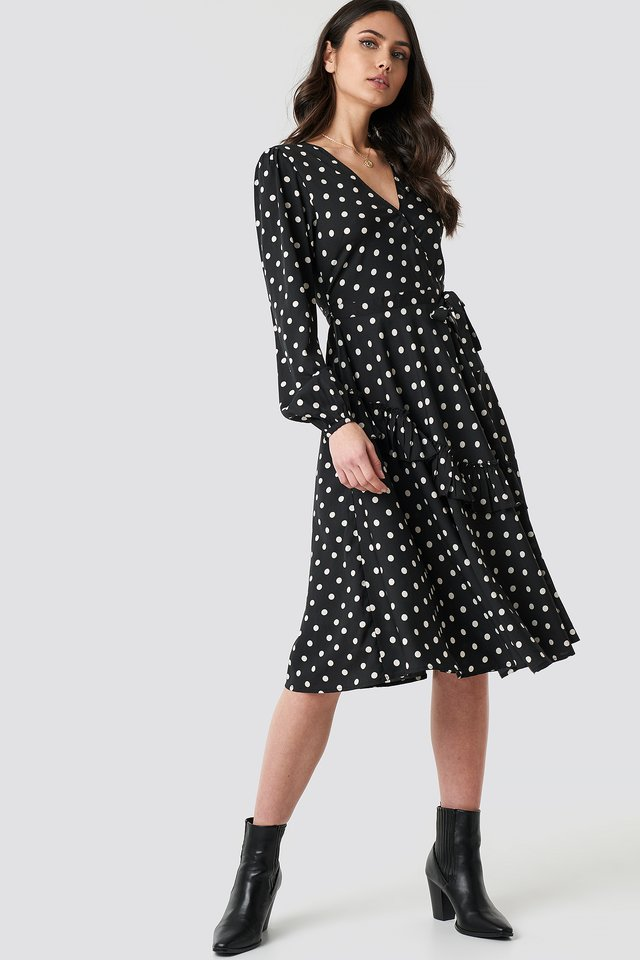 Wrapped Dot Midi Dress Black/White dots
