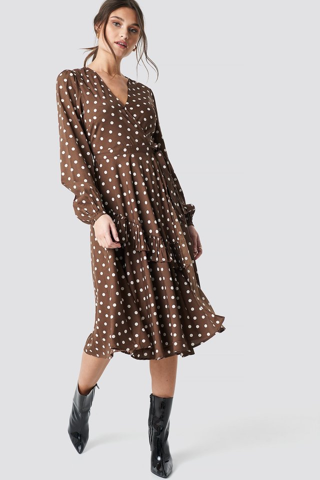 Wrapped Dot Midi Dress Brown/White Dots