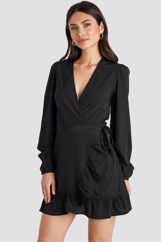 Black Wrapped Flounce Mini Dress