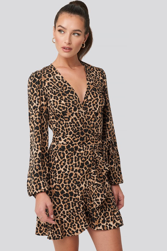 Wrapped Flounce Mini Dress Leopard
