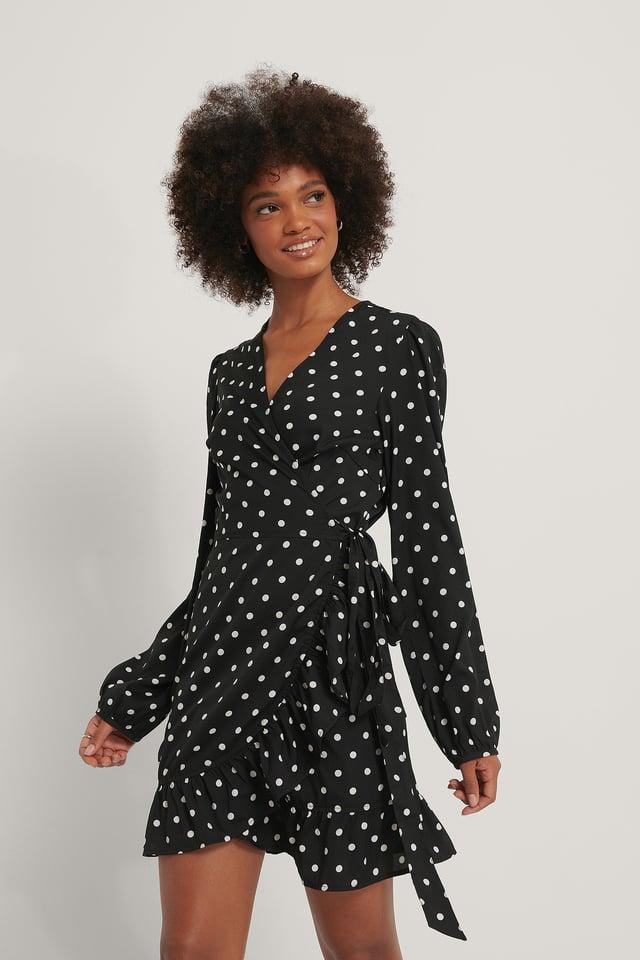 Black Polka Dot Wrapped Flounce Mini Dress