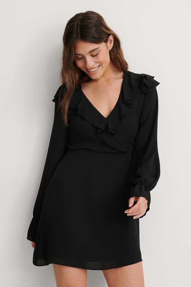 Black Wrapped Frill Dress
