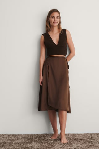 Brown Wrapped Satin Skirt