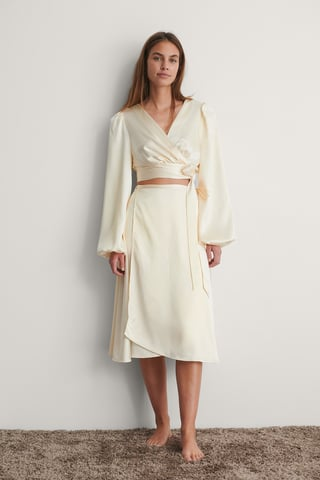 Cream Wrapped Satin Skirt