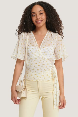 White/Yellow Flower Wrapped Shirred Blouse
