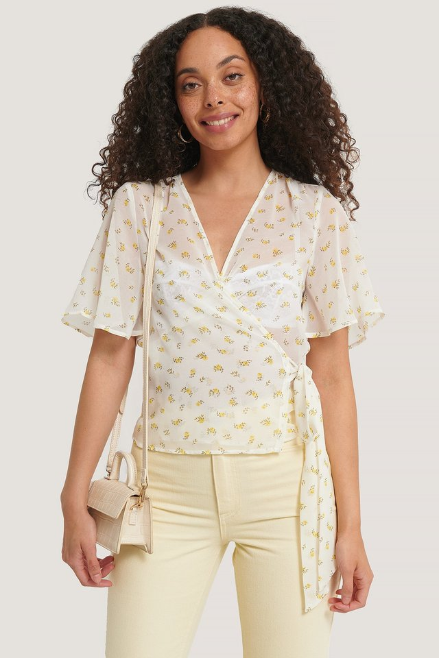 Wrapped Shirred Blouse White/Yellow Flower