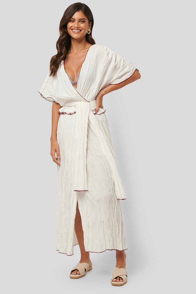 Wrinkle Effect Maxi Kaftan White