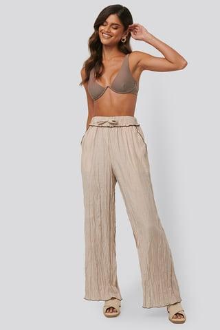 Beige Wrinkle Effect Pants