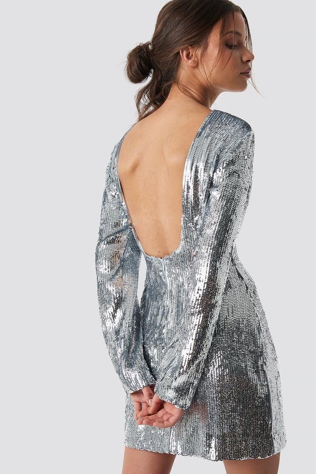 Deep Back Sequin Dress Silver
