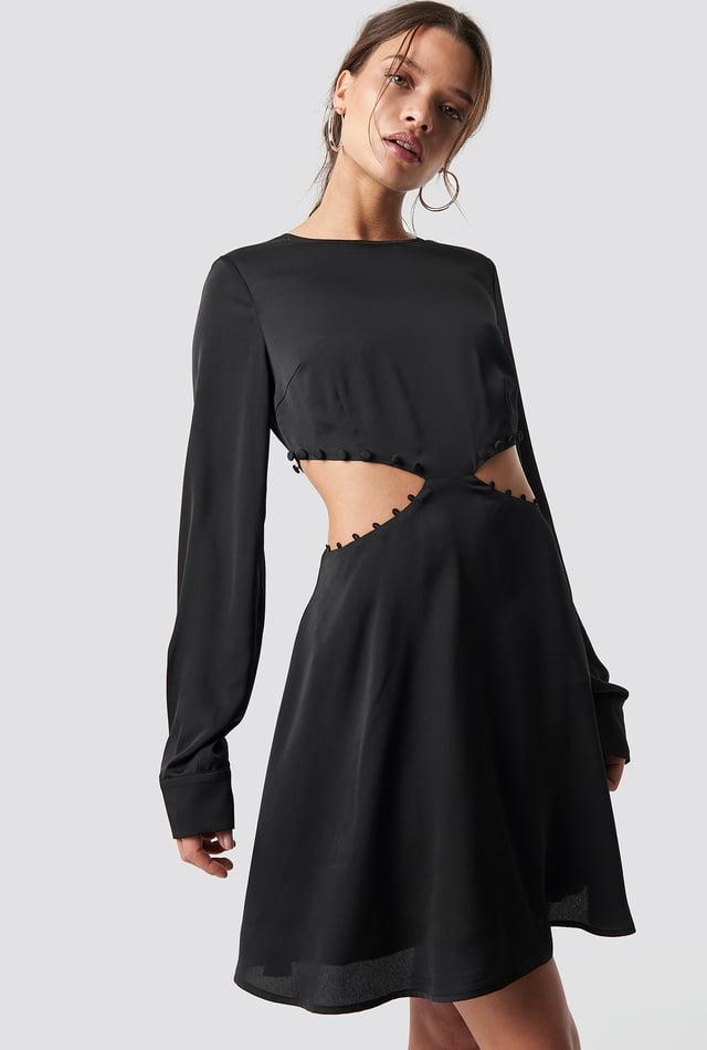 Flirty Short Buttoned Dress Black