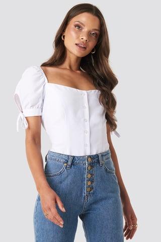 White Jess Tie Sleeve Blouse