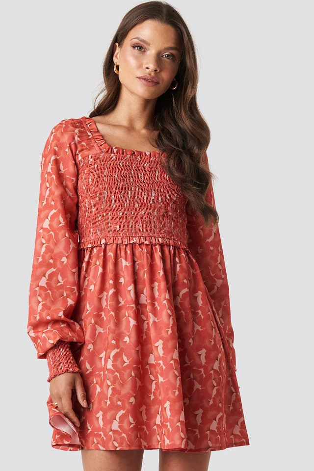 Sandy Smock Mini Dress Red Flower