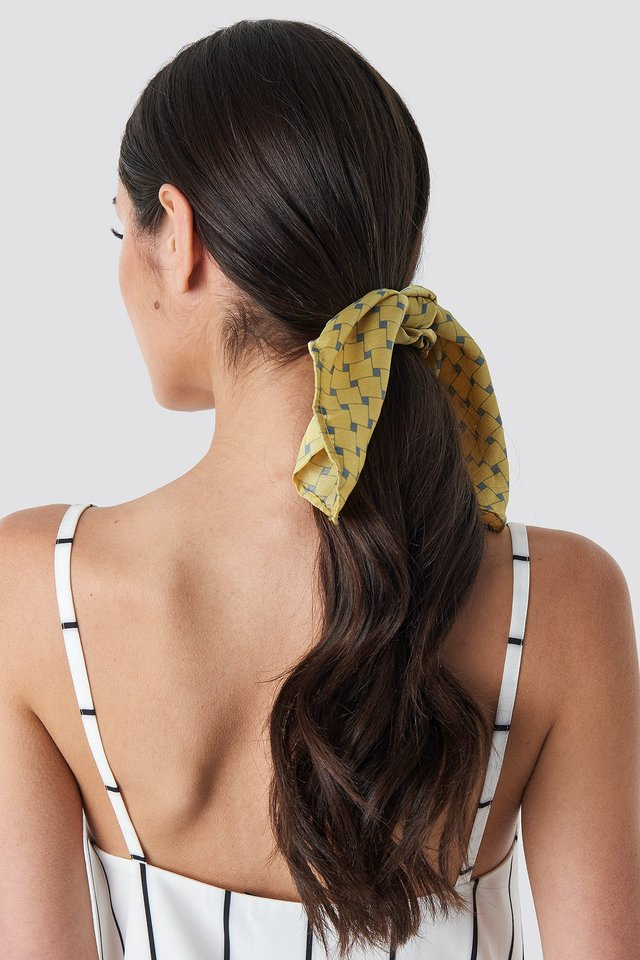 Yellow Patterned Knot Scrunchie Yellow